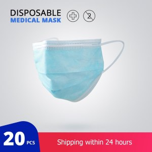 20 pcs/Bag Disposable Medical Mask 3 Layer Non-woven Disposable Surgical Mask Thickened Protective Face Mask
