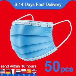 50pcs Mask 3 layer Face Mouth Masks Non Woven Disposable Anti Dust Meltblown cloth Masks Earloops Masks 100pcs
