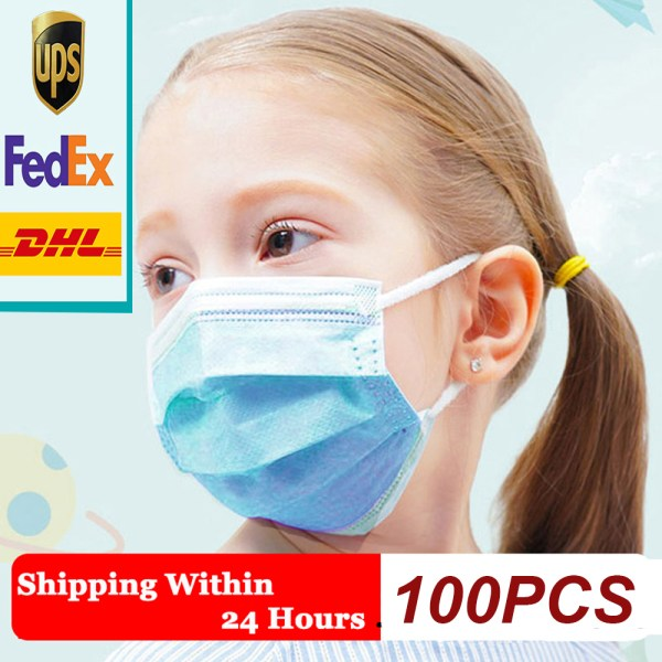 100pcs Children Face Masks 3-Ply Disposable Mouth Masks Earloop Polypropylene to protect your kids from sick fast delivery