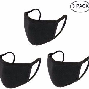 3PCS Anti Dust Mouth Mask Cotton Mouth Mask Unisex Black Face Mask Reusable Mask 3D Fashion Face Mask Washable Mask for Cycling