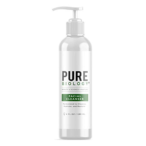 Pure Biology Facial Cleanser with Hyaluronic Acid – Anti Aging Face Wash Helps Minimize Pores & Calm Acne, Smooth Wrinkles & Brighten Complexion for Men & Women of All Skin Types, 6oz