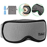 Sleep Mask, Voluex 3D Contoured Sleeping Eye Mask & Blindfold with Breathable Memory Foam for Men/Women/Kids, 100% Blockout Light Grey Eye Cover with Anti-Slip Adjustable Strap for Travel/Naps