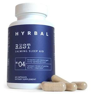 Hyrbal Rest - Extra Strength Sleep Aid for Adults - All-Natural Sleep Aid with Natural Melatonin, L Tryptophan, Magnesium, Ashwagandha and Valerian - Nighttime Formula