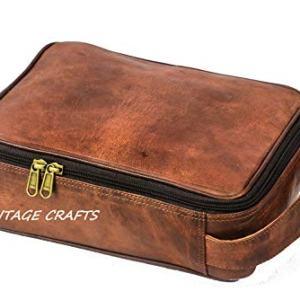 Genuine Goat Leather Unisex Toiletry Bag Travel Dopp Kit