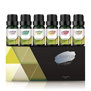 Essential Oils Set, LamFun Top 6 Aromatherapy Essential Oils for Diffuser, Massage and DIY, 100% Pure & Natural-Grapefruit, Rose, Cinnamon, Lavender, Tea Tree, Lemon Essential Oils, 6 x 10 ml