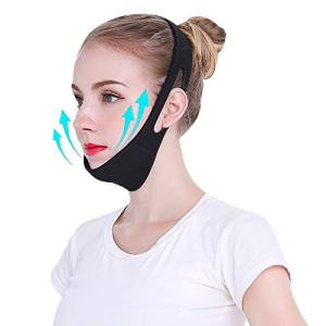 MOLECOLE Face Slimming Strap for Eliminating Sagging Skin, Pain-Free Face Lifting Bandage, V Line Chin Strap, Face Lifter Strap, Lifting Firming Anti Aging, Reducing Double Chin for Women, Men (Black)