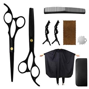 Hair Cutting Scissors Set, Professional Haircut Shears with Thinning Scissors Black Hairdressing Kit for Barber, Salon, Home