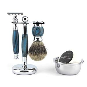 VICYUNS Luxury Grooming Shaving Set for Men Including Double-sided Razor, Allergy Shaving Soap, Stainless Steel Bowl, Hair Shaving Brush,10 Replacement Blades (Blue)