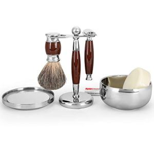 Youngster Age Luxury Shaving Set Including Double Edge Razor, Shaving Soap, Stainless Steel Bowl with Mirror, Badger Hair Brush,10 Replacement Blades