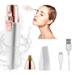Facial Hair Removal for Women Eyebrow Trimmer 2 in 1 USB Rechargeable Painless Waterproof Eyebrow Hair Remover Eyebrow Razor Epilator Electric Shaver with LED Light for Peach Fuzz, Eyebrow, Chin, Body