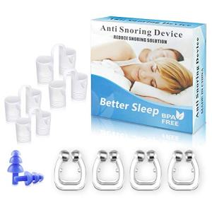 Anti Snoring Solution Devices for Women Man Nose Clip 4 Magnetic Nose Clips with 4 Nasal Dilators, Snore Stopper Silicone Anti Snore Clipple, Comfortable & Professional, 2 Choices for Deep Sleep