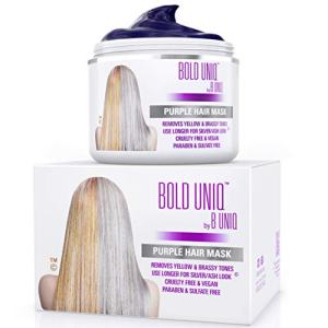 Purple Hair Mask for Blonde, Platinum & Silver Hair - Banish Yellow Hues: Blue Masque to Reduce Brassiness & Condition Dry Damaged Hair - Sulfate Free Toner – 7 Fl. Oz / 200 ml