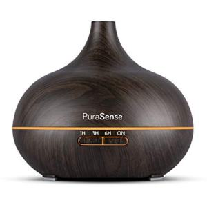 PuraSense Ultrasonic Aromatherapy Essential Oil Diffuser, 550ml Cool Mist Humidifier with Color LED Lights Changing and Waterless Auto Shut-off for Office Home Bedroom Living Room Study Yoga Spa