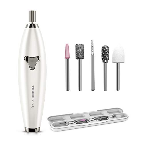 TOUCHBeauty Electric Nail File Drill 6in1 Manicure Pedicure set for Natural Acrylic Nails Shaping Gel Nails Remover, ±360° Dual-ways Rotation Bits, Adjustable Speed Rechargeable Travel Set 1733