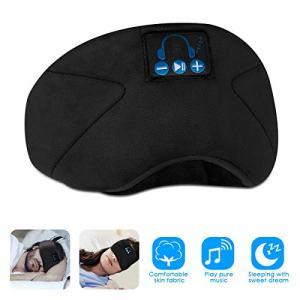 SOONHUA Bluetooth Eye Mask for Sleeping, Wireless Sleep Headphones Headband Bluetooth 5.0, for Running with Built-in Microphone Ultra-Thin Speakers,for Side Sleepers (Black)