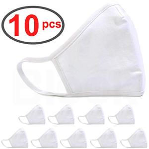 BLOOK 100% Cotton Fashion Protective Face Anti-dust Mouth Face Bandana Balaclavas, 2-Layer Unisex Reusable Fashion Washable (Pack 10 - White)