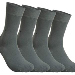 Bamboo Men's 4 Pair Socks - Soft Touch, Naturally Scented, Seamless, Vivid Color, Comfort Cuff, Antibacterial Organic Bamboo Fiber by Corner4Shop (Gray)