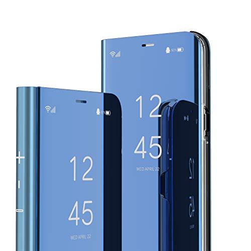 ISADENSER Samsung Galaxy A30 Case Galaxy A20 Case Luxury Design As Gift View Flip Plating Mirror Makeup Glitter Slim Shockproof Full 360 Body Protective Case for Samsung Galaxy A20 Mirror Mirror Blue