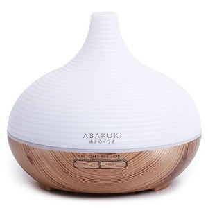 ASAKUKI 300ml Essential Oil Diffuser, Cool Mist Humidifier for Home and Office, Quiet Aromatherapy Diffuser with Timer and Auto-Off Safety Switch
