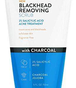 Acne Free Blackhead Removing Exfoliating Face Scrub with 2% Salicylic Acid and Charcoal Jojoba - Daily Wash, Skin Care Face Scrub Acne Treatment For Men Women and Teens With Acne Prone Skin - 5 oz