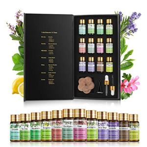 PHATOIL Premium Essential Oils Set with Wood Diffuser 100% Pure Natural Therapeutic Aromatherapy Oils Gift Set-12 Pack/5ml for Relaxation,PeacefulSleep,Diffuser,Humidifier,Massage,Skin&Hair Care