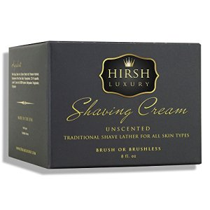 Hirsh Luxury Shaving Cream Unscented Essential Oil 8oz Sensitive Skin Formulation