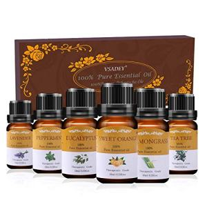 VSADEY Essential Oils Set, Top 6 Aromatherapy Essential Oils for Diffuser, Massage, Skin and Hair Care - Sweet Orange, Lavender, Tea Tree, Peppermint, Lemongrass, Eucalyptus 100% Pure, 6 x 10ml