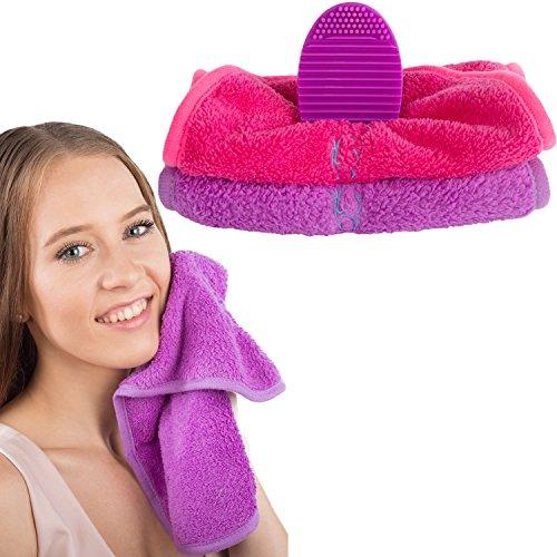 VIDI Luxury Reusable Make up Remover Cloth (2 Pack) and Makeup Brush Cleaner Model: VIDI
