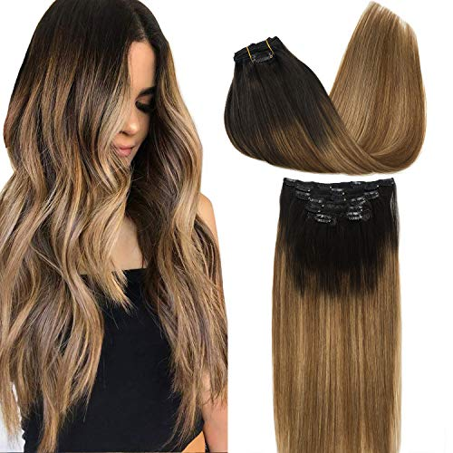 GOO GOO Remy Hair Extensions Clip in Human Hair Extensions Ombre Dark Brown Fading to Light Brown and Ash Blonde Ombre Clip in Extensions Balayage Hair Extensions 7pcs 120g 24 inch
