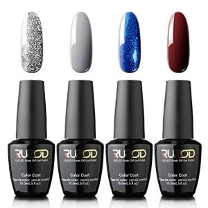 Ruzod Gel Nail Polish, Four Luxury Soak Off Nail Gel Polish Color Coat Collection, Need Dry Under UV LED Nail Lamp, 15ml Each Bottle, Long Wear and High Gloss
