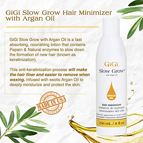 GiGi Slow Grow Hair Inhibitor Lotion with Argan Oil - Hair Regrowth Minimizer Model: GiGi