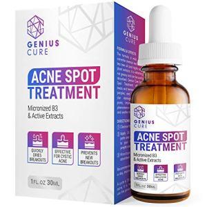 GENIUS Acne Spot Treatment Serum for Acne Prone Skin, Mild, Moderate, Severe, Cystic Acne - Premium Tea Tree Oil, Plant Extracts & Vitamin E, Prevent Future Breakouts 1fl oz