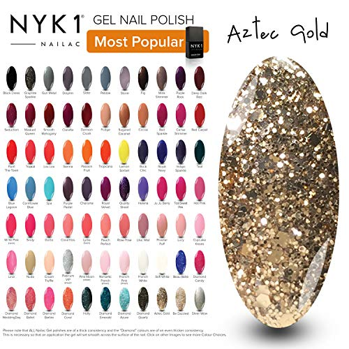 Luxury Gold Nail Gel Polish - (Aztec Gold) Sparkly Glitter LED UV Gel Nail Polish Lamp Dryer Nailac Acrylic Nail Art Set Kits Gel Nail Polish Nail Varnish Set Colours Home Manicure Gel Nail Kit