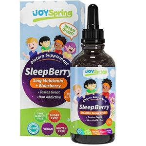 SleepBerry Liquid Melatonin for Kids - Natural Sleep Aid with Elderberry and Vitamin D - Helps Them Sleep Soundly, Boost Immune System and Wake Up Refreshed