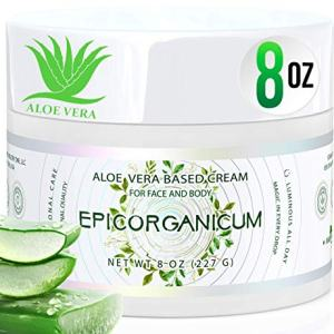 Organic Aloe Vera Moisturizing Cream Body and Face Moisturizer For Acne, Psoriasis, Rosacea, Eczema, Aging, Itchy Dry or Sensitive Skin Care Cream, Skin Care Face Natural Cream (8 oz)