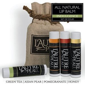 All Natural Luxury Lip Balm with Natural Beeswax by L'AUTRE PEAU - Dry Chapped Lips Treatment with Moisturizer | Indulgence Gift Set | Green Tea, Asian Pear, Pomegranate & Honey (4 Pack)