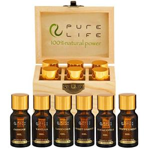 Pure Life Top 6 Essential Oils Set For Diffuser Aromatherapy 100% Organic Fragrance Oil Kit For Humidifier, Fresh & Grade Scents of Lavender, Peppermint, Eucalyptus, Orange, Vanilla, Jasmine