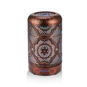 BAIESHIJI Essential Oil Diffuser, Metal Vintage Essential Oil Diffusers 100ML, Aromatherapy Diffuser with Waterless Auto Shut-Off Protection, 7 Color Changing Light, Cool Mist Humidifier