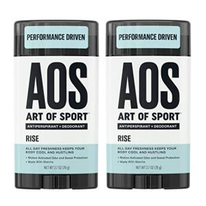 Art of Sport Men's Antiperspirant Deodorant Stick (2-Pack), Rise Scent, Athlete-Ready Formula with Matcha, 2.7 oz