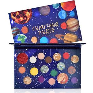 FREEORR 18 Colors Galaxy Shade Palette, Long Lasting Waterproof Multi Reflective Shimmer Matte Glitter Pressed Pearls Eyeshadow Makeup Pallet