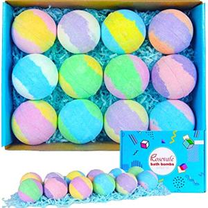 Rosevale Bath Bombs Gift Set, 12 Large 5oz Bubble Bath Fizzies, Shea & Coco Butter Dry Skin Moisturize, Perfect for Bubble & Spa Bath, Birthday Fathers Day Gifts idea for Her/Him, Wife, Girlfriend.