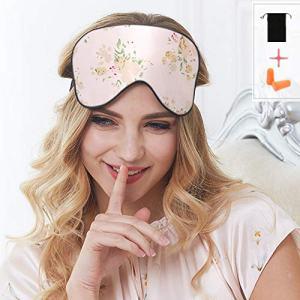 100% Silk Sleep Mask & Blindfold, Soft Eye Mask with Adjustable Head Strap,Eye Masks for Sleeping Night Eyeshade, Comfortable Eye Cover for Travel, Shift Work & Meditation with Earplug (Floral)