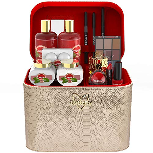 Mothers Day Premium Bath and Body Gift Basket For Women – 30 Piece Set, Pink Grapefruit Home Spa and Makeup Set, With Cosmetic Pencils, Lip Balm, Lotion, Perfume, Rose Gold Leather Cosmetic Bag & More
