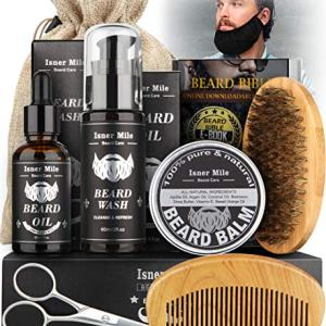 Isner Mile Beard Kit for Men, Grooming & Trimming Tool with Beard Shampoo Wash, Beard Care Growth Oil, Balm, Brush, Comb, Scissors, Shaping Template & Beard Guard, Perfect Gifts for Him Dad Boyfriend