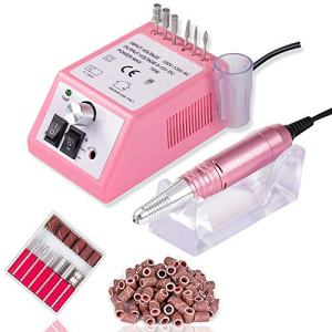 30000 RPM Electric Nail Drill Professional Nail File Drill Acrylic Nails Kit for Manicure Gel Nail Polish Remover with 1 Pack of Sanding Bands(Pink)