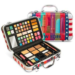 Vokai Makeup Kit Gift Set - New York Travel Case 41 Eye Shadows 4 Blushes 5 Bronzers 7 Body Glitters 1 Lip Liner Pencil 1 Eye Liner Pencil 2 Lip Gloss Wands 1 Lipstick 5 Concealers 1 Brow Wax 1 Mirror
