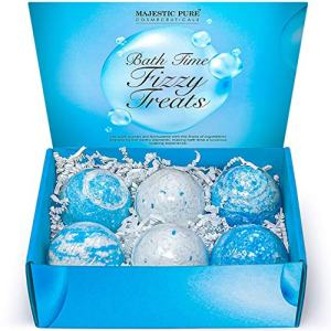 MAJESTIC PURE Bath Bombs Gift Set of 6 – Made with Pure Essential Oils, Fractionated Coconut Oil, Shea Butter - Luxury Bath Fizzies - Perfect Mothers Day Gift - 2 x 3
