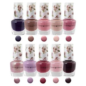 Live Green Nail Polish Set - 10 Mini Nail Polish Colors, Polish Kit for Fingernails and Toenails