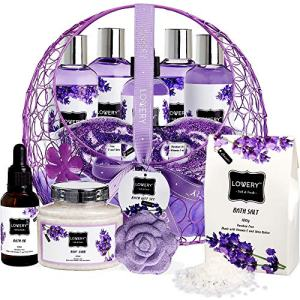 Mother's Day Spa Bath and Body Gift For Women and Men – Hot and Cold Gel Eye Mask, Lavender and Jasmine Deluxe Home Spa Set with Bath Bombs, Massage Oil, Purple Wired Candy Dish and Much More