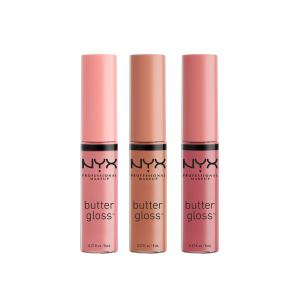 NYX PROFESSIONAL MAKEUP Butter Lip Gloss, 3 Colors, Angel Food Cake, Creme Brulee, Madeleine, 0.27 Fl Oz, Pack of 3